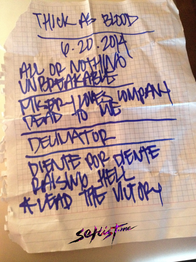 Setlist Thick As Blood copia